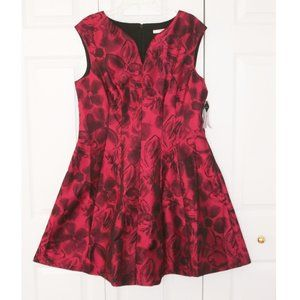 Studio One Deep Red & Black Party Dress, size 16